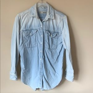 Topshop Moto Denim Shirt sz 6 White Wash